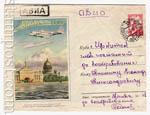 ХМК СССР 1955 г. 082a P  1955 28.01 SC № 82 (55-3)* АВИА. Самолет ИЛ-14 над Ленинградом. Бум.0-1 почта.