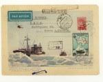 """ХМК СССР 1957 г. 361a  SC № 354 (57-8) Корабли """"Обь"""" и """"Лена"""". Прошёл почту. Заказное, в Швейцарию."""