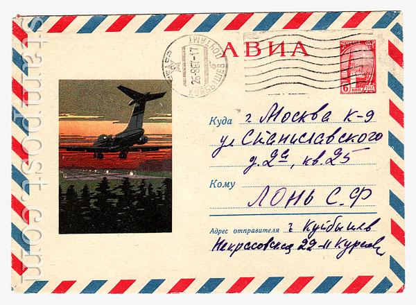 4227 P ХМК СССР  1966 06.05 АВИА. ИЛ-62 над посадочной полосой