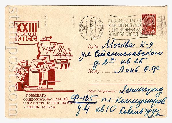 4422 P ХМК СССР  1966 XXIII съезд КПСС. Программирование станка