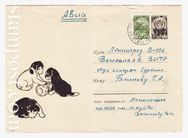4322 ХМК СССР  1966 07.07 Щенки с куклой-неваляшкой