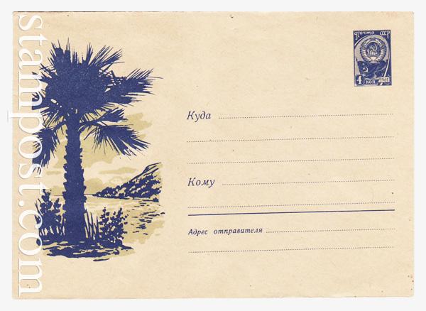 1467 ХМК СССР  1961 11.02 Пальма на берегу моря